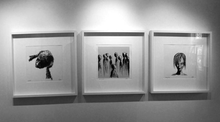 Tre av mina verk på väggen i Gislaveds konsthall