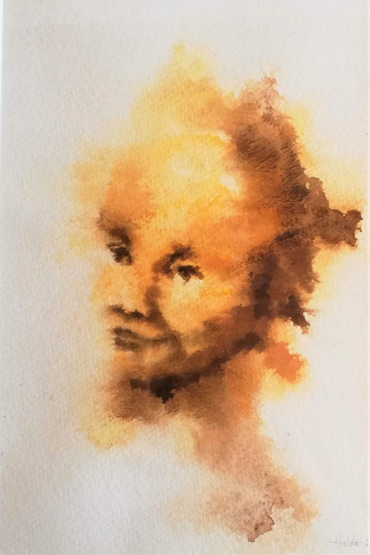 Ett leende ansikte målat med utflytande färger från gult till mörkt brunt på vitt papper.